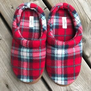 Lands' End Plaid Fleece House Slippers Slip On